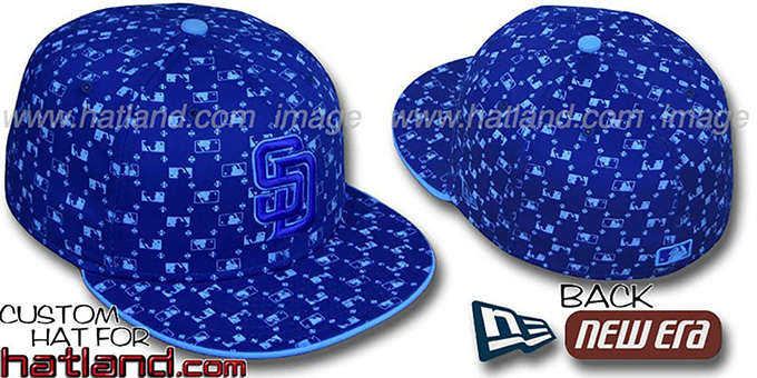 Padres 'MLB FLOCKING' Royal Fitted Hat by New Era : pictured without stickers that these products are shipped with