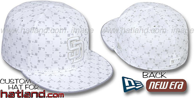 Padres 'MLB FLOCKING' White-Grey Fitted Hat by New Era : pictured without stickers that these products are shipped with