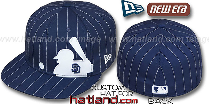 Padres 'MLB SILHOUETTE PINSTRIPE' Navy-White Fitted Hat by New Era : pictured without stickers that these products are shipped with