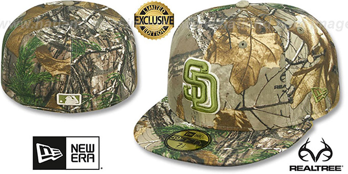 Padres 'MLB TEAM-BASIC' Realtree Camo Fitted Hat by New Era : pictured without stickers that these products are shipped with