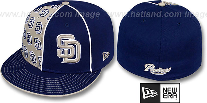 Padres 'MULTIPLY' Navy-Tan Fitted Hat by New Era : pictured without stickers that these products are shipped with