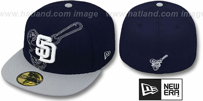 Padres 'NEW MIXIN' Navy-Grey Fitted Hat by New Era : pictured without stickers that these products are shipped with