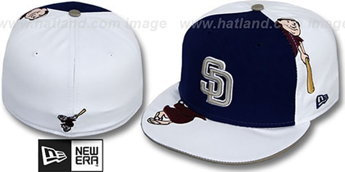 Padres 'ORLANTIC-3' Navy-White Fitted Hat by New Era : pictured without stickers that these products are shipped with