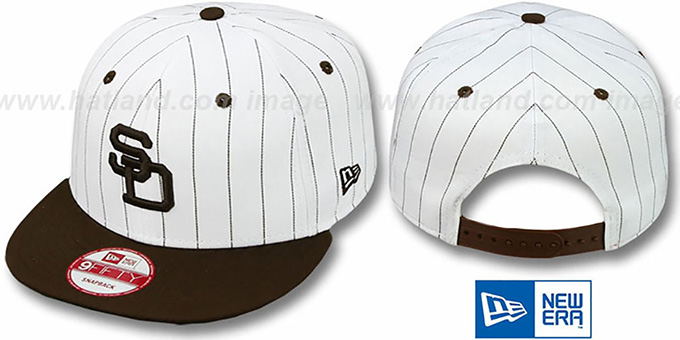 Padres 'PINSTRIPE BITD SNAPBACK' White-Brown Hat by New Era : pictured without stickers that these products are shipped with