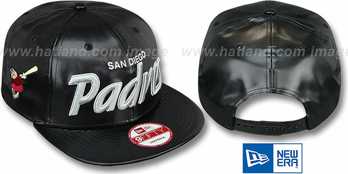 Padres 'REDUX SNAPBACK' Black Hat by New Era : pictured without stickers that these products are shipped with