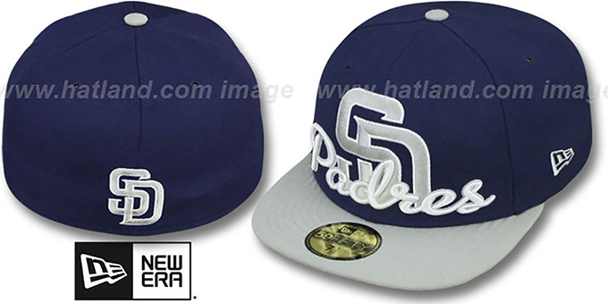 Padres 'SCRIPT-PUNCH' Navy-Grey Fitted Hat by New Era : pictured without stickers that these products are shipped with