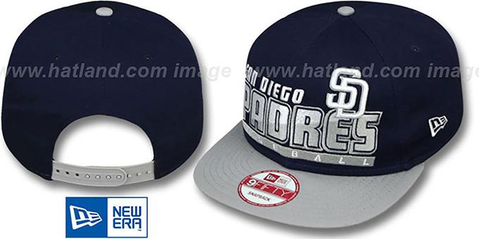 cef112d224352 Padres  SLICE-N-DICE SNAPBACK  Navy-Grey Hat by New Era
