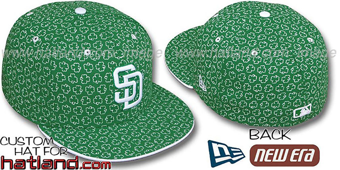 Padres 'ST PATS FLOCKING' Kelly Fitted Hat by New Era : pictured without stickers that these products are shipped with