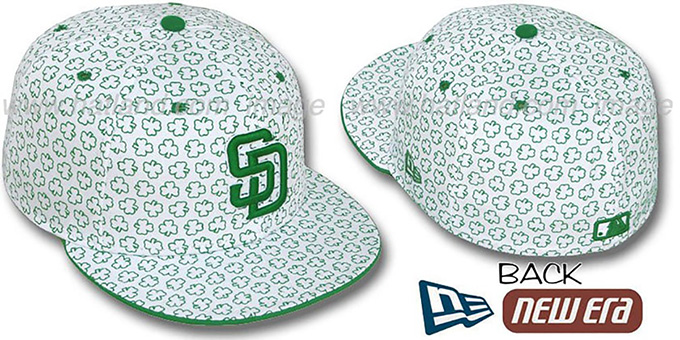 Padres 'ST PATS FLOCKING' White Fitted Hat by New Era : pictured without stickers that these products are shipped with
