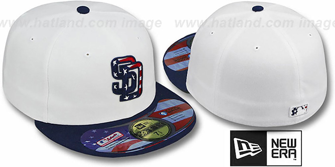 Padres 'STARS N STRIPES' White-Navy Hat by New Era : pictured without stickers that these products are shipped with