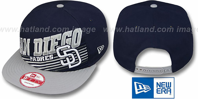 Padres 'STILL ANGLIN SNAPBACK' Navy-Grey Hat by New Era : pictured without stickers that these products are shipped with