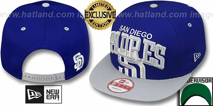Padres 'SUPER-LOGO ARCH SNAPBACK' Royal-Grey Hat by New Era : pictured without stickers that these products are shipped with