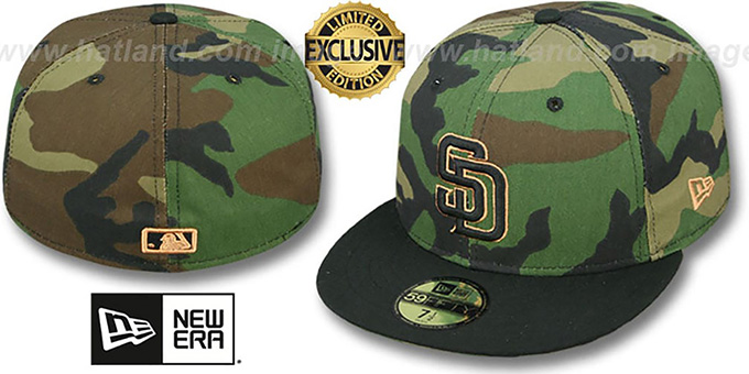 San Diego Padres TEAM-BASIC Army Camo Fitted Hat by New Era b60956182ec