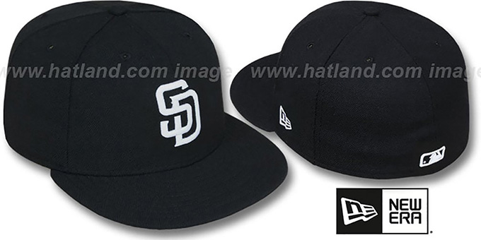 Padres 'TEAM-BASIC' Black-White Fitted Hat by New Era : pictured without stickers that these products are shipped with