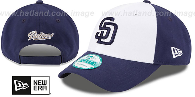 Padres 'THE-LEAGUE STRAPBACK' White-Navy Hat by New Era : pictured without stickers that these products are shipped with