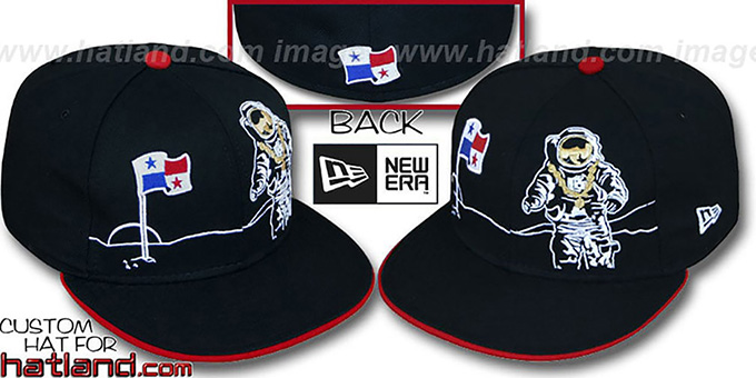 Panama 'MOONMAN' Black Fitted Hat by New Era : pictured without stickers that these products are shipped with