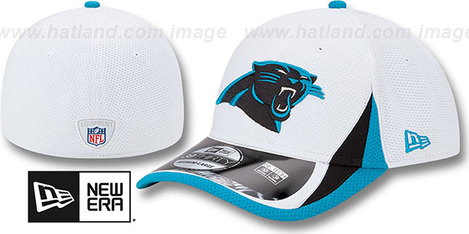 Panthers '2013 NFL TRAINING FLEX' White Hat by New Era : pictured without stickers that these products are shipped with