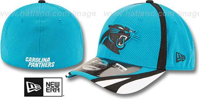 Panthers '2014 NFL TRAINING FLEX' Blue Hat by New Era : pictured without stickers that these products are shipped with