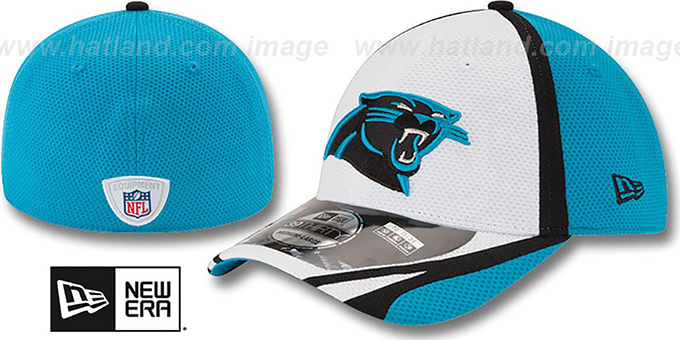 Panthers '2014 NFL TRAINING FLEX' White Hat by New Era : pictured without stickers that these products are shipped with