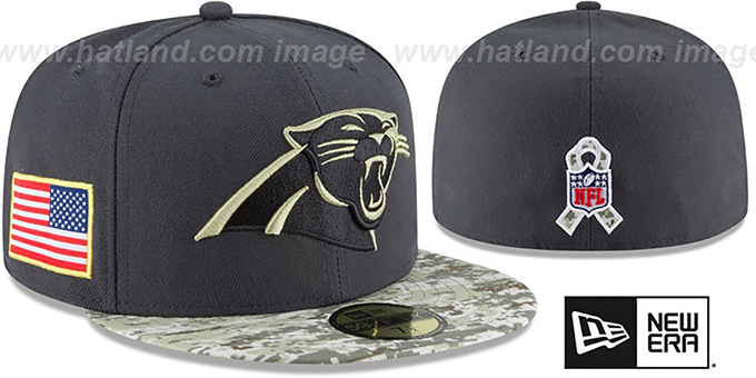 Panthers '2016 SALUTE-TO-SERVICE' Grey-Desert Fitted Hat by New Era : pictured without stickers that these products are shipped with
