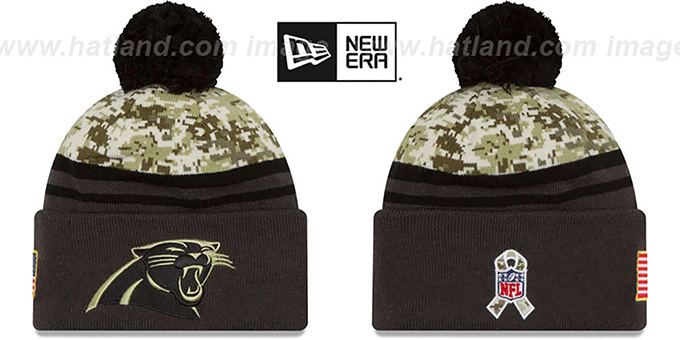 Panthers '2016 SALUTE-TO-SERVICE' Knit Beanie Hat by New Era : pictured without stickers that these products are shipped with