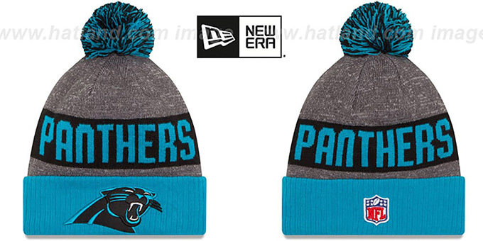 Panthers '2016 STADIUM' Blue-Black-Grey Knit Beanie Hat by New Era : pictured without stickers that these products are shipped with