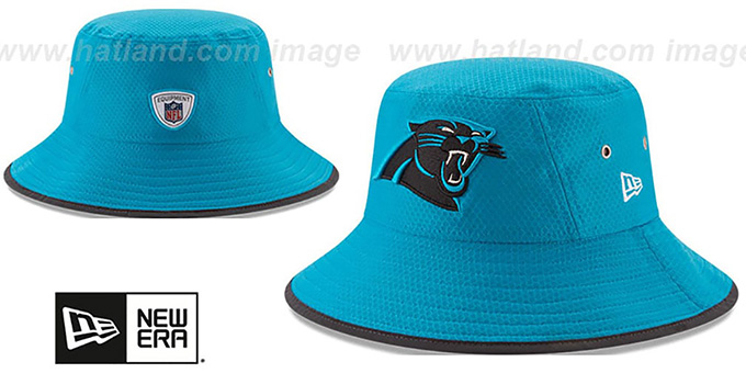 Panthers '2017 NFL TRAINING BUCKET' Blue Hat by New Era : pictured without stickers that these products are shipped with