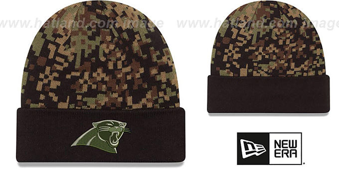 Panthers 'ARMY CAMO PRINT-PLAY' Knit Beanie Hat by New Era : pictured without stickers that these products are shipped with