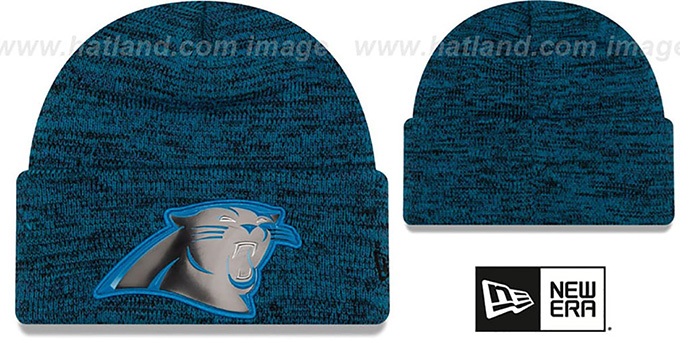 Panthers 'BEVEL' Blue-Black Knit Beanie Hat by New Era : pictured without stickers that these products are shipped with