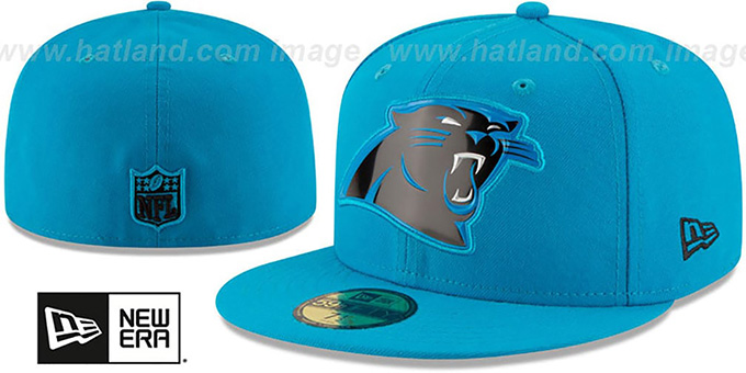 Panthers 'BEVEL' Blue Fitted Hat by New Era : pictured without stickers that these products are shipped with