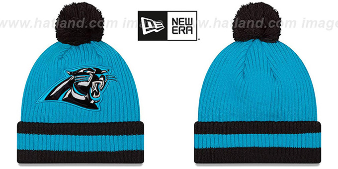 Panthers 'CHILLER FILLER BEANIE' Blue-Black by New Era : pictured without stickers that these products are shipped with