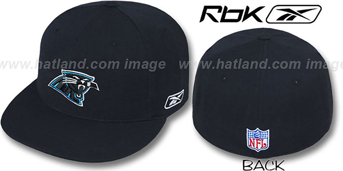 Panthers 'COACHES' Black Fitted Hat by Reebok : pictured without stickers that these products are shipped with