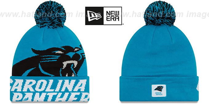 Panthers 'COLOSSAL-TEAM' Blue Knit Beanie Hat by New Era : pictured without stickers that these products are shipped with