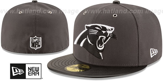 Panthers 'METAL HOOK' Grey-Black Fitted Hat by New Era : pictured without stickers that these products are shipped with