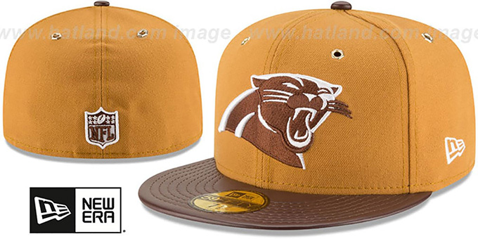 Panthers 'METAL HOOK' Wheat-Brown Fitted Hat by New Era : pictured without stickers that these products are shipped with