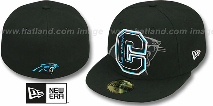Panthers 'NFL FELTN' Black Fitted Hat by New Era : pictured without stickers that these products are shipped with