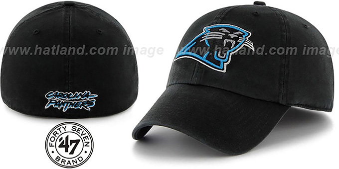 Panthers 'NFL FRANCHISE' Black Hat by 47 Brand : pictured without stickers that these products are shipped with