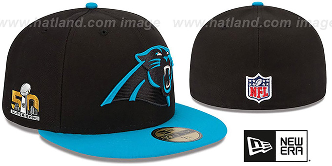 Panthers 'NFL SUPER BOWL 50' Fitted Hat by New Era : pictured without stickers that these products are shipped with