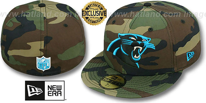 Panthers 'NFL TEAM-BASIC' Army Camo Fitted Hat by New Era : pictured without stickers that these products are shipped with