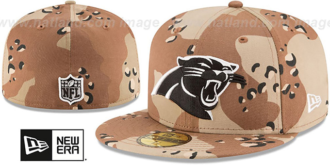 Panthers 'NFL TEAM-BASIC' Desert Storm Camo Fitted Hat by New Era : pictured without stickers that these products are shipped with
