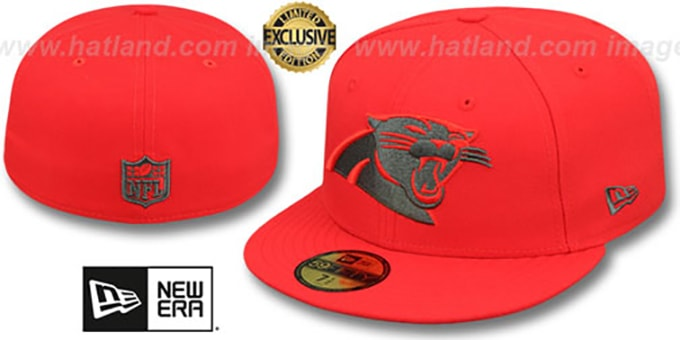 f3351913f Panthers 'NFL TEAM-BASIC' Fire Red-Charcoal Fitted Hat by ...