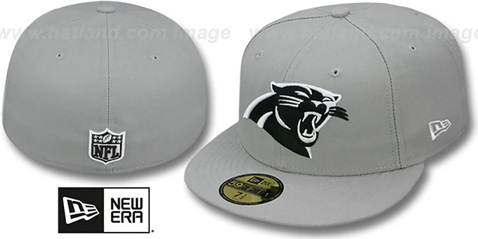 Panthers 'NFL TEAM-BASIC' Grey-Black-White Fitted Hat by New Era : pictured without stickers that these products are shipped with
