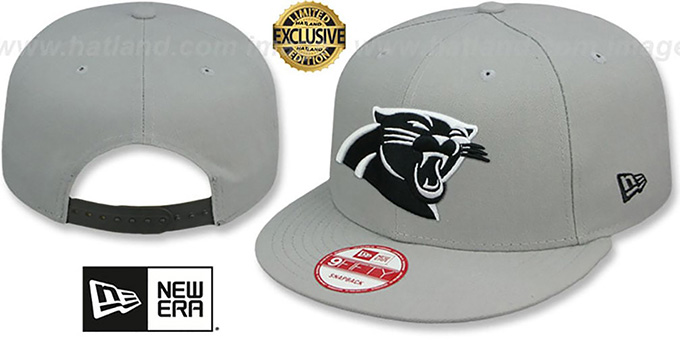 Panthers 'NFL TEAM-BASIC SNAPBACK' Grey-Black Hat by New Era : pictured without stickers that these products are shipped with