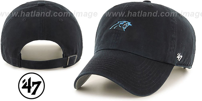 Panthers 'POLO STRAPBACK' Black Hat by Twins 47 Brand : pictured without stickers that these products are shipped with