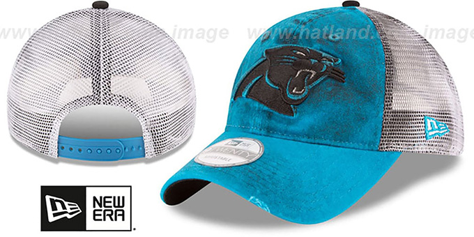 Panthers 'RUSTIC TRUCKER SNAPBACK' Hat by New Era : pictured without stickers that these products are shipped with