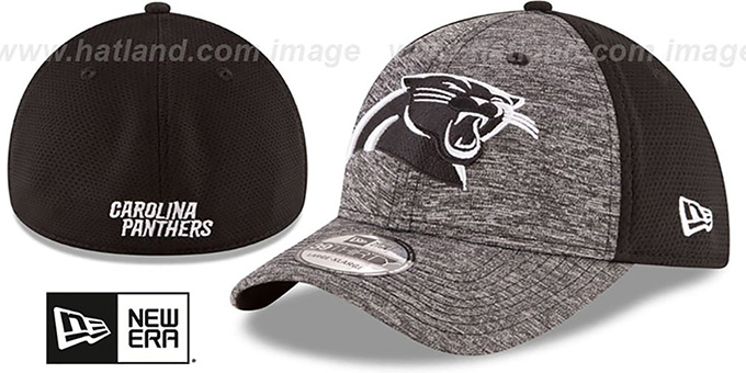 Panthers 'SHADOWED FLEX' Grey-Black Hat by New Era : pictured without stickers that these products are shipped with