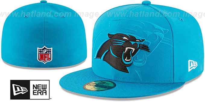 Panthers 'STADIUM SHADOW' Blue Fitted Hat by New Era : pictured without stickers that these products are shipped with