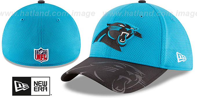 Panthers 'STADIUM TRAINING FLEX' Blue-Black Hat by New Era : pictured without stickers that these products are shipped with