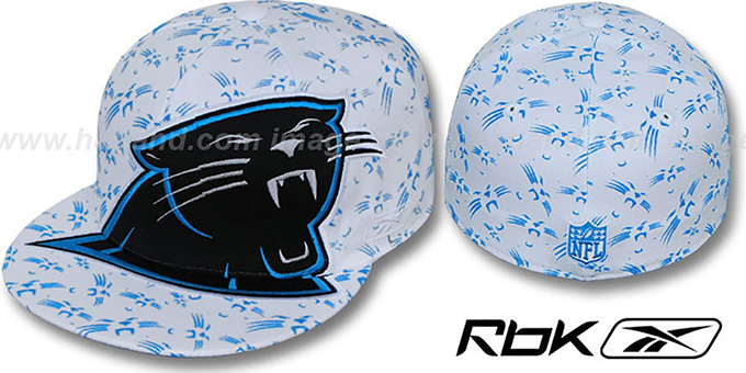 Panthers 'SUPERSIZE FLOCKING' White Fitted Hat by Reebok : pictured without stickers that these products are shipped with