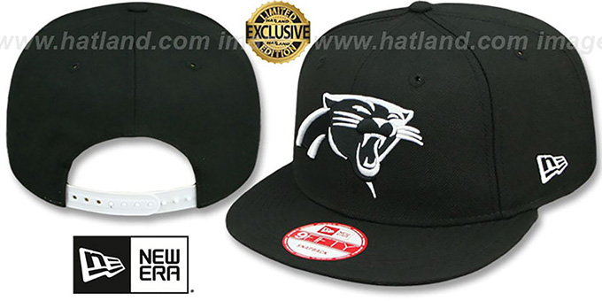Panthers 'TEAM-BASIC SNAPBACK' Black-White Hat by New Era : pictured without stickers that these products are shipped with